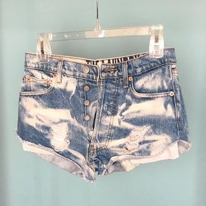 Distressed Jean Shorts with Camo Pocket